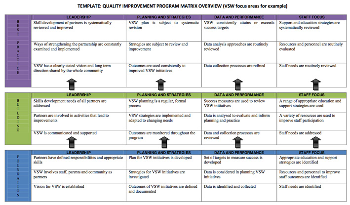 Continual quality improvement matrix 6 volunteer southwest for Template for quality improvement plan